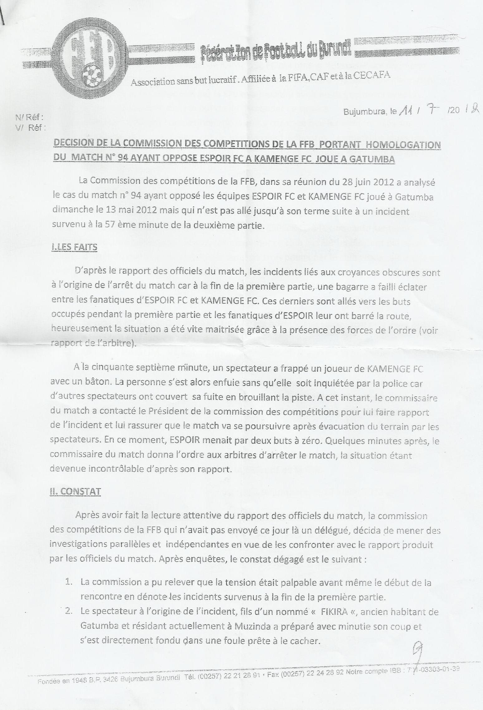 Rapport de la FFB sur l'affaire Espoir de Mutimbuzi - Kamenge FC (page 1) sota1-0011