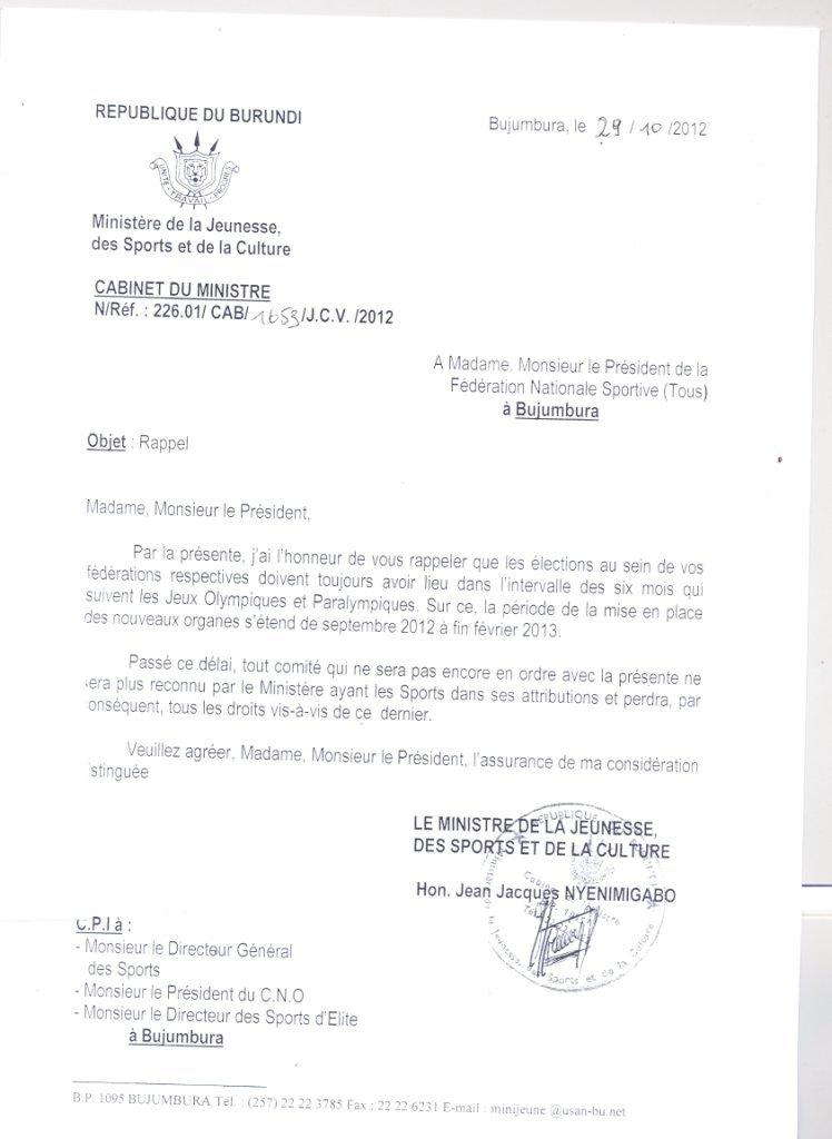 Copie adressée à toutes les fédérations sportives du Burundi (lettre du Ministre des Sports) patrick