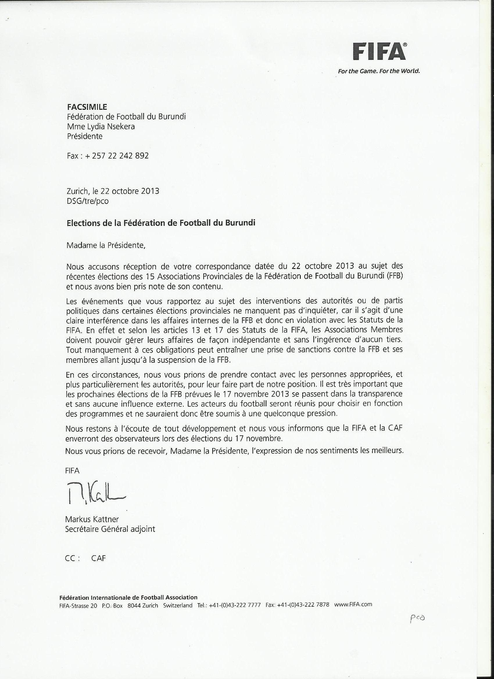 La FIFA réagit par rapport aux jérémiades de Lydia Nsekera bonjour