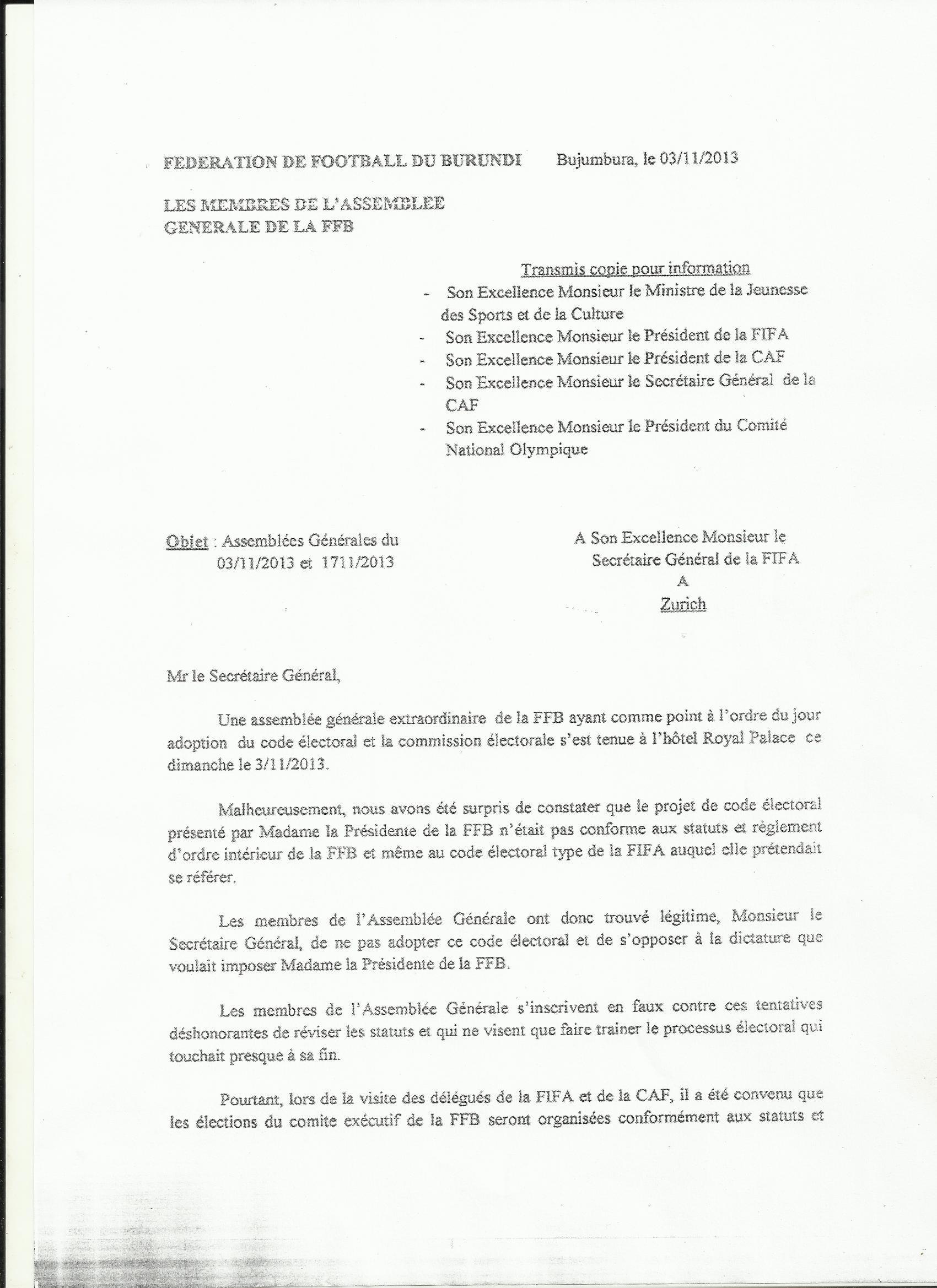L'opposition conduite par le Sénateur Révérien Ndikuriyo s'inscrit en faux contre les démarches illégitimes de Lydia Nsekera (page 1) pat-4